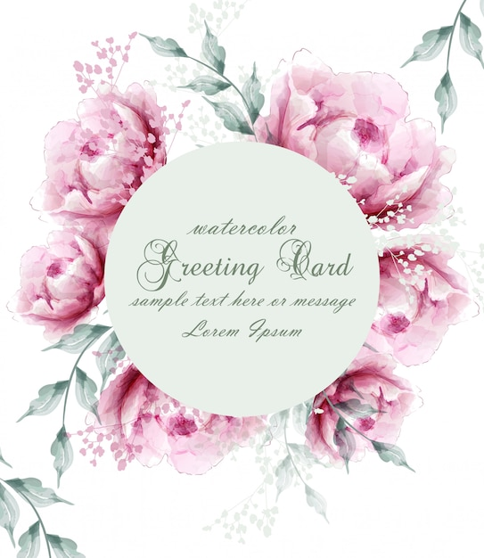 Watercolor peony flowers wreath blossom card Premium Vector