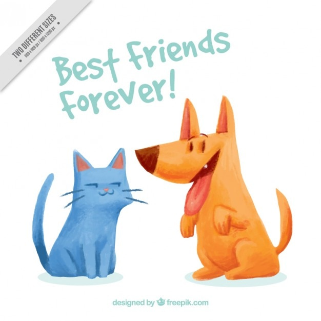 Watercolor pets friendship background Free Vector