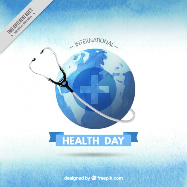 Watercolor phonendoscope with Earth Health Day\ background