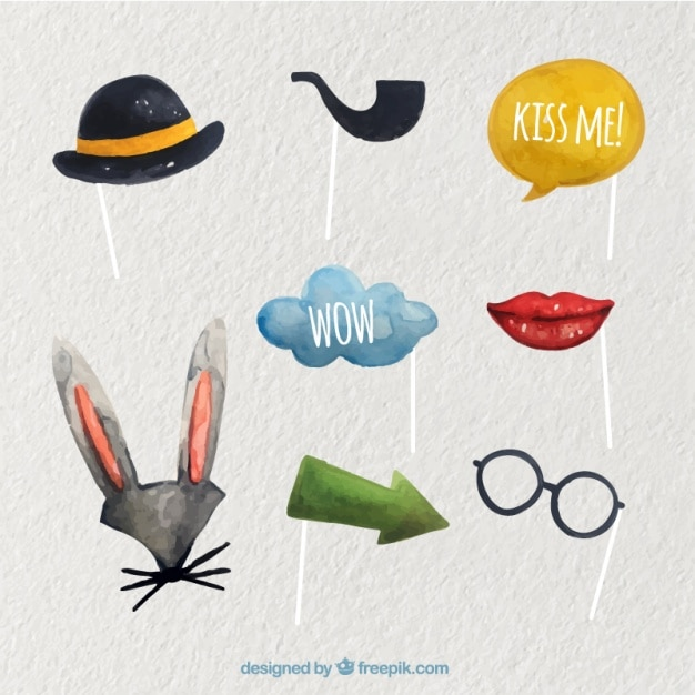 Watercolor photo booth props Free Vector