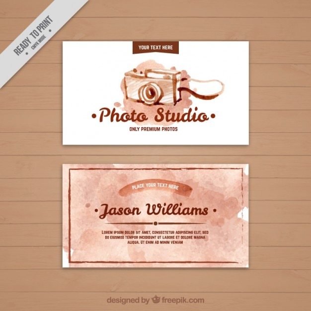 Watercolor photo studio business card