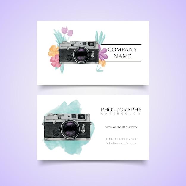 Watercolor photo studio card with polaroid camera Free Vector