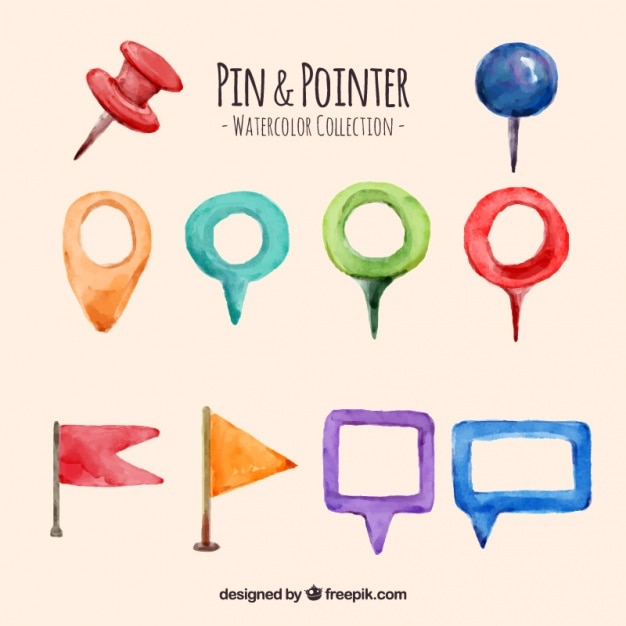 Watercolor pin and pointer set Free Vector