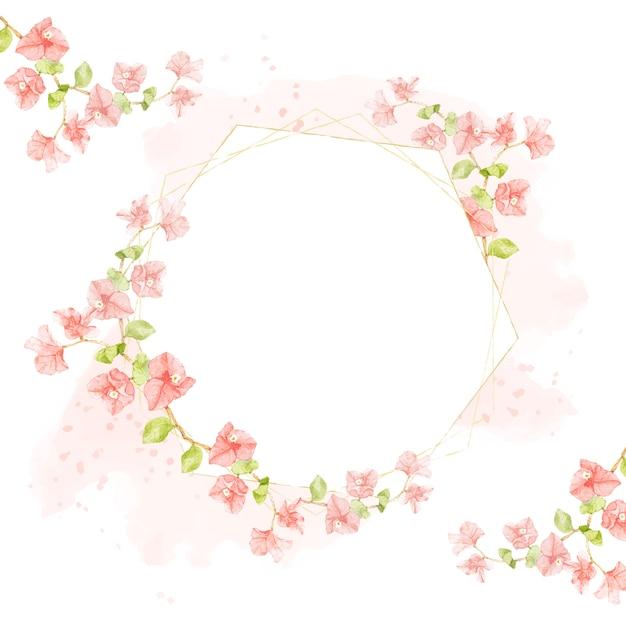 結婚式や誕生日の招待カードの六角形のゴールデンフレームとピンクのスプラッシュに水彩ピンクブーゲンビリア Premiumベクター