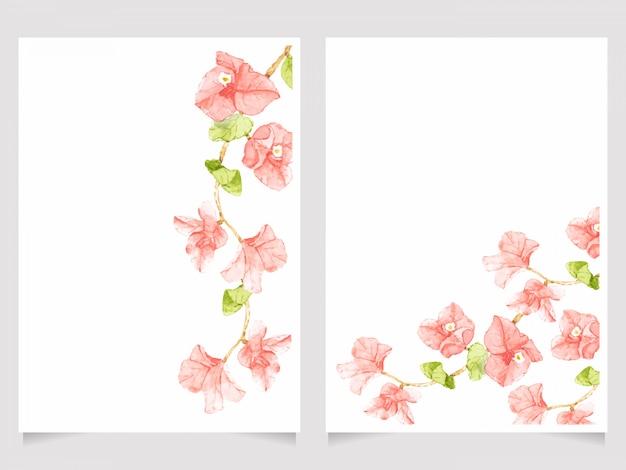水彩ピンクブーゲンビリアの結婚式の招待カードテンプレートセット Premiumベクター