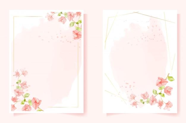 結婚式や誕生日の招待カード5 x 7テンプレートコレクションのゴールデンフレームと水彩のピンクのブーゲンビリア Premiumベクター