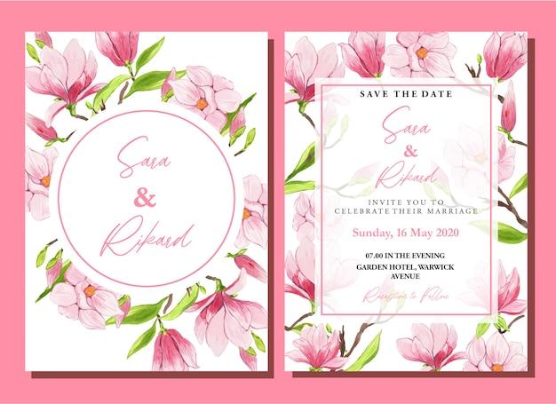 Watercolor pink chinese magnolia wedding invitation template set Premium Vector