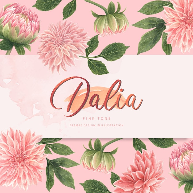 Watercolor pink dalia flowers card Free Vector