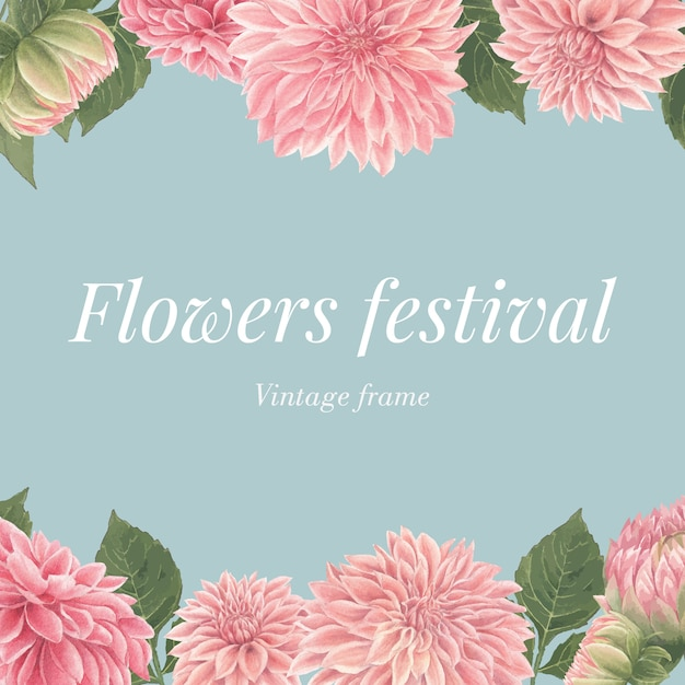 Watercolor pink dalia flowers card Free Vector