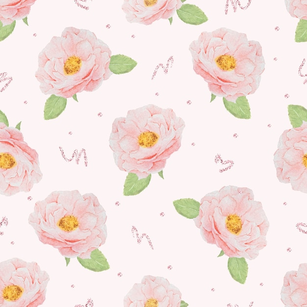 종이 또는 직물에 대한 장미 골드 반짝이 원활한 패턴으로 수채화 핑크 영어 장미 프리미엄 벡터
