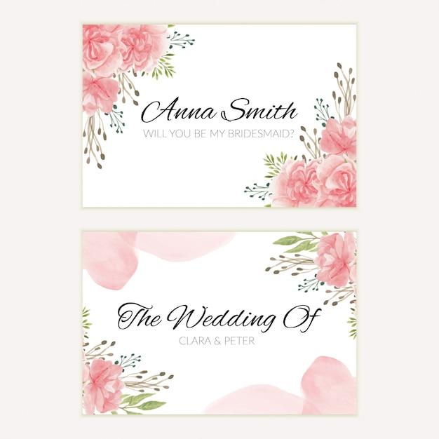 Акварель розовый цветочный свадебный шаблон карточки невесты Premium векторы