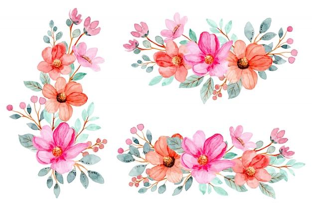 Акварельный розовый букет Premium векторы