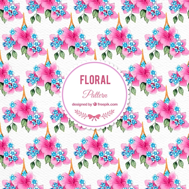 Watercolor pink flowers pattern
