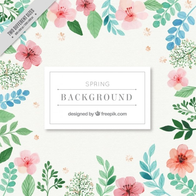 Watercolor pink flowers with green leaves background Free Vector
