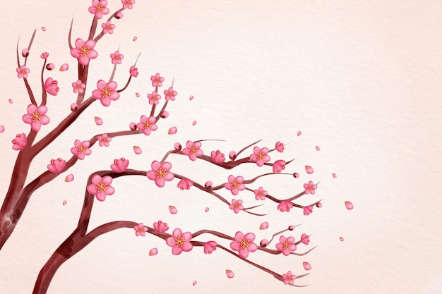 Watercolor pink plum blossom background Free Vector