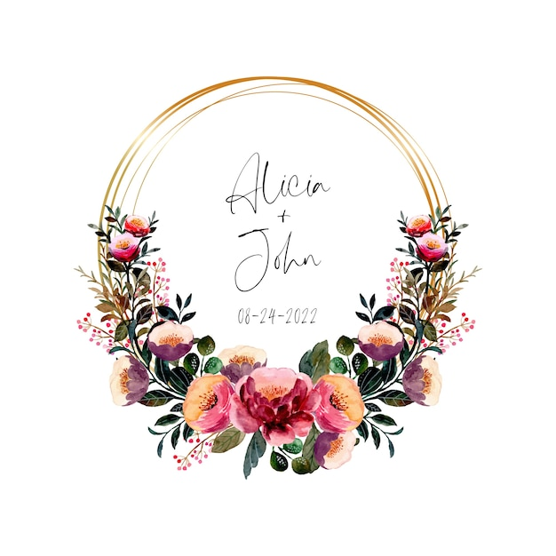 Watercolor pink purple floral wreath with golden frame Premium Vector