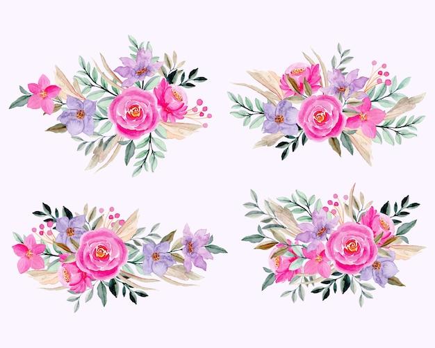 Акварельный розовый фиолетовый цветочная коллекция Premium векторы
