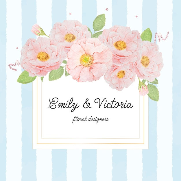 Watercolor pink rose bouquet on gold square frame on blue strip background for banner or logo Premium Vector