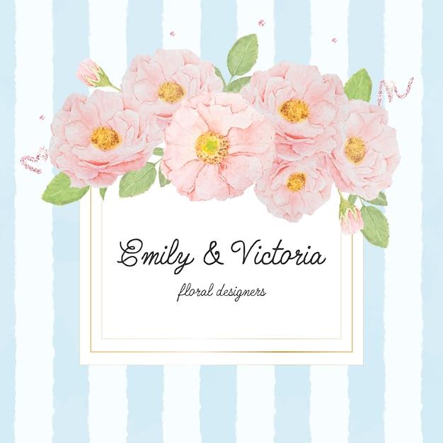Акварельный букет розовых роз на золотой квадратной рамке на синем фоне полосы для баннера или логотипа Premium векторы