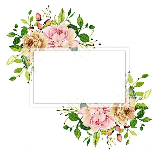 Watercolor pink rose floral frame Premium Vector