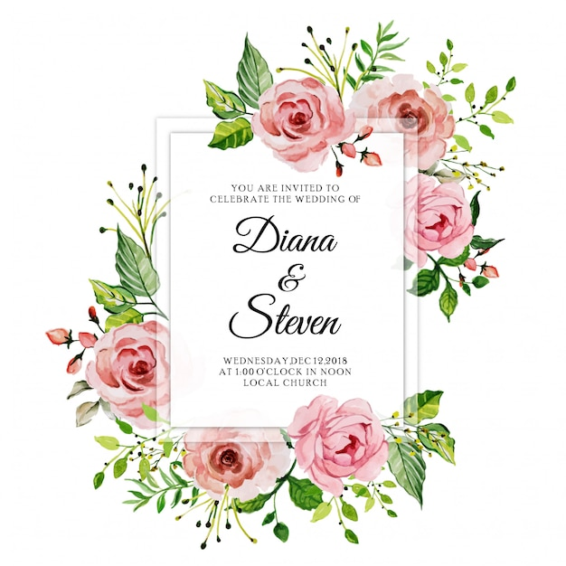 Watercolor Pink Rose Floral Wedding Invitation Card Vector
