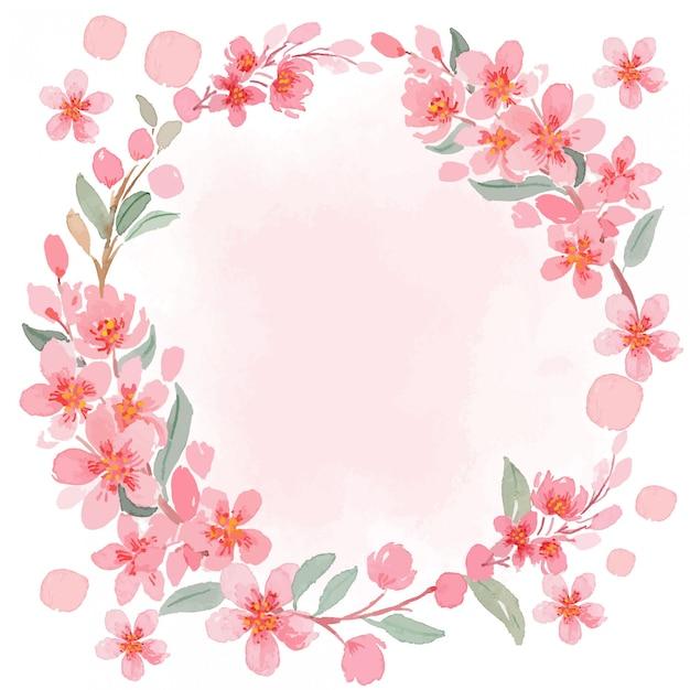 Watercolor pink sakura cherry blossom vintage square frame template Premium Vector
