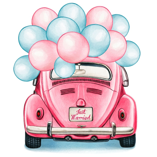 Watercolor pink shiny vintage car with balloons celebration Premium Vector