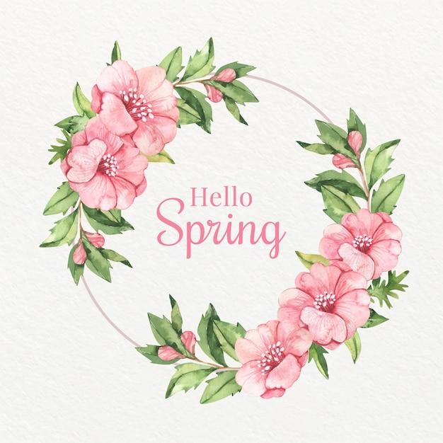 水彩ピンクの春咲く花のフレーム 無料ベクター