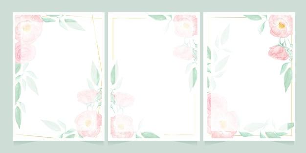 골든 프레임 초대 카드 템플릿 컬렉션 수채화 핑크 와일드 로즈 프리미엄 벡터