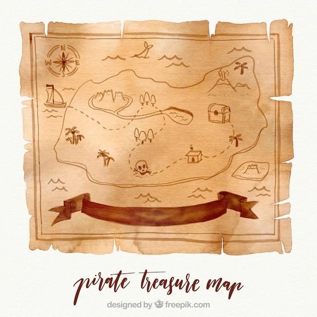 Watercolor pirate treasure map Free Vector