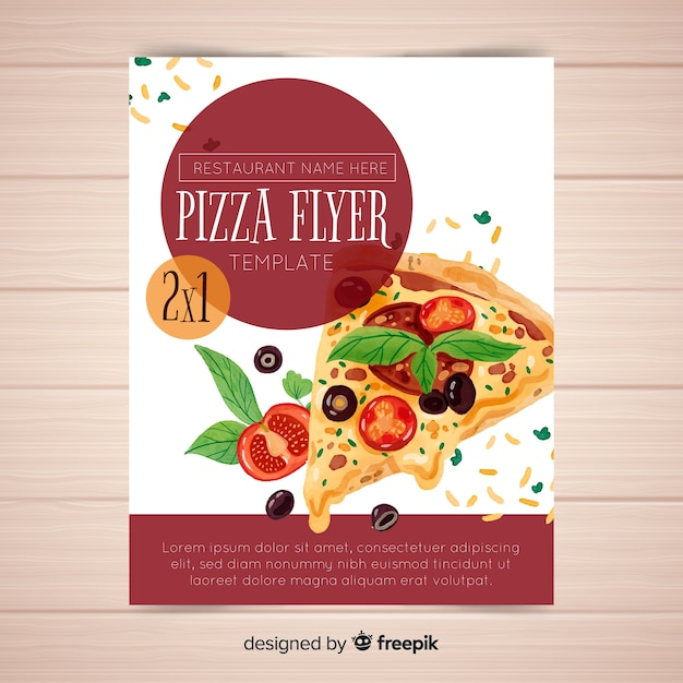 Watercolor pizza flyer template Free Vector