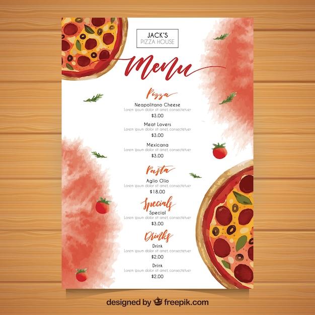 watercolor pizza menu template vector free download