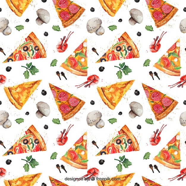 Watercolor pizza pattern vector free download - Decoratie pizzeria ...