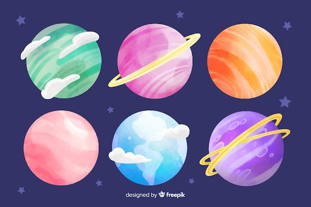 Watercolor planet collection with gas and rings Free Vector
