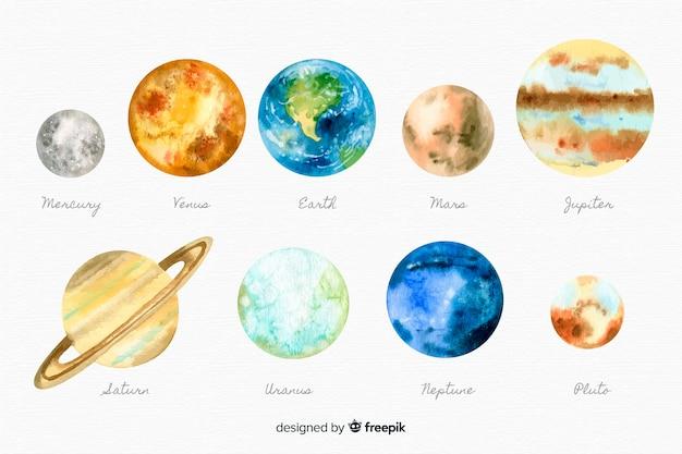 Коллекция акварель планета Бесплатные векторы
