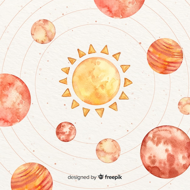 Watercolor planets orbiting around the sun Free Vector