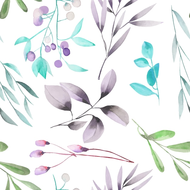 Watercolor plants and branches seamless pattern Premium Vector