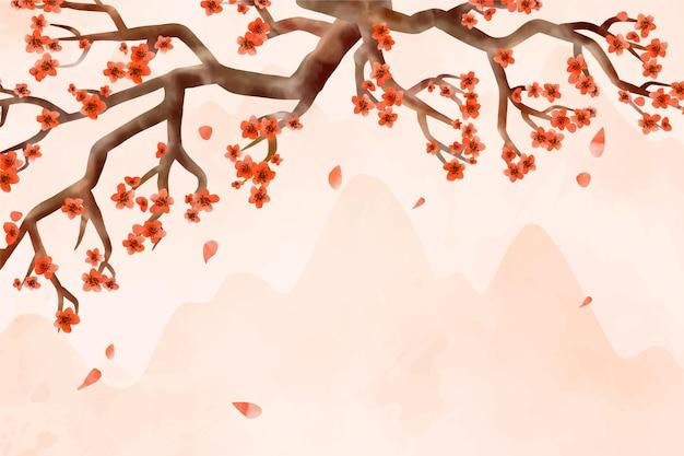 水彩梅の花の背景 無料ベクター