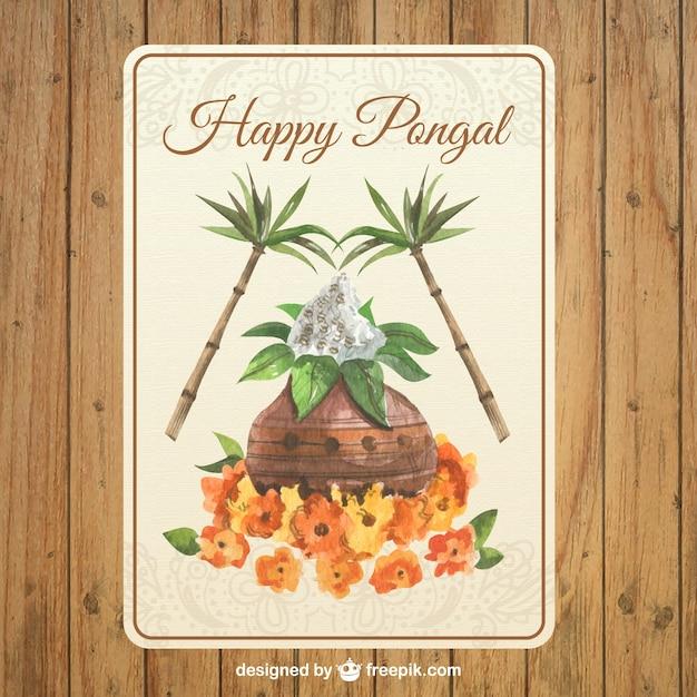 Watercolor pongal greeting card vector premium download watercolor pongal greeting card premium vector m4hsunfo