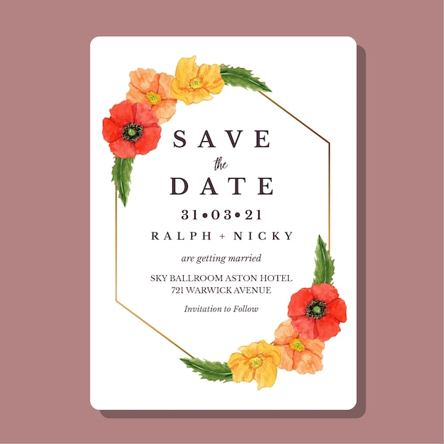 水彩のケシの花ゴールドの幾何学的な境界線結婚式の招待カードテンプレート Premiumベクター