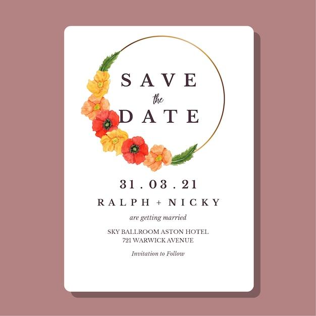 Watercolor poppies flower gold round border wedding invitation card template Premium Vector
