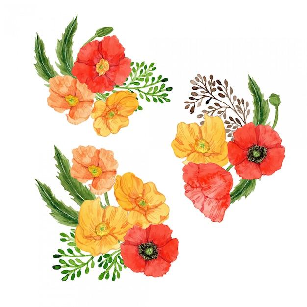 Watercolor poppy flower arrangement set Premium Vector