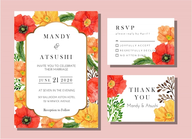 Watercolor poppy flower invitation card classic template Premium Vector