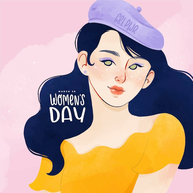 Watercolor portrait of woman for international women's day Free Vector