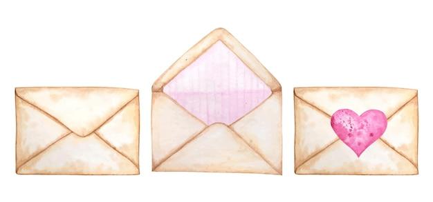 バレンタイン用の水彩郵便封筒セット Premiumベクター