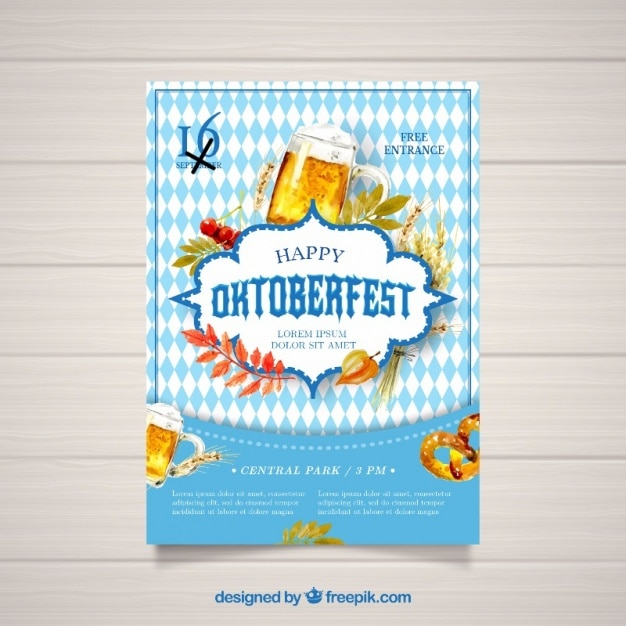 Watercolor poster for oktoberfest Free Vector
