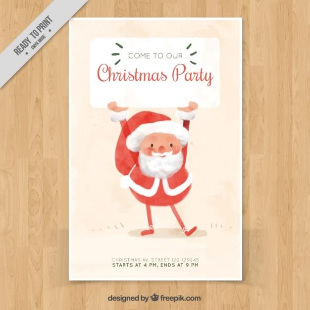 Watercolor poster with happy santa claus Free Vector