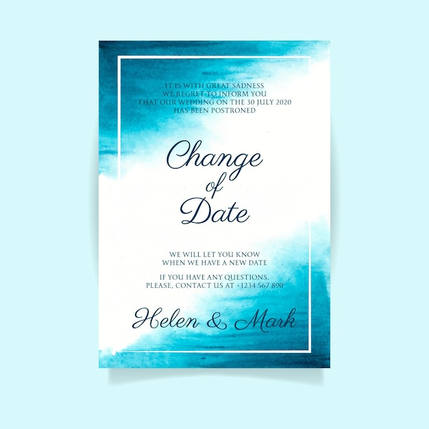 Акварель перенесла концепцию свадебной открытки Premium векторы