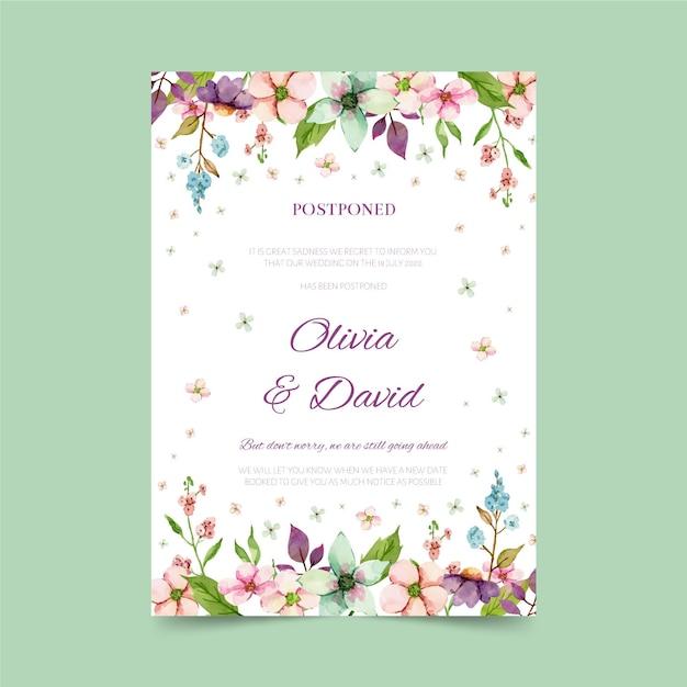 Watercolor postponed wedding card Free Vector