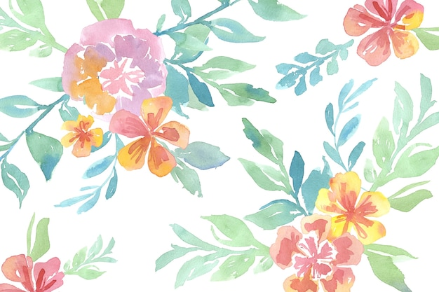 Watercolor pretty flowers with seamless pattern background Free Vector